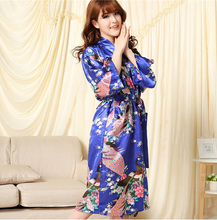 Free Shipping!Wholesale &Retail Chinese Women's Silk Rayon Kaftan Yukata Wedding Robe Gown Peacock S M L XL XXL XXXL  WR0039(China (Mainland))