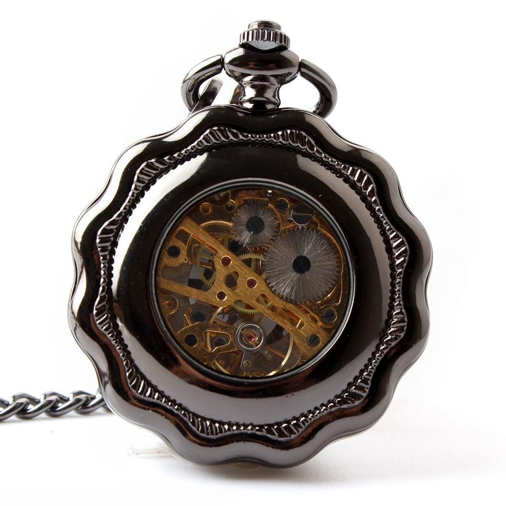 Классический Цветок Унисекс Механические Карманные Часы Талии Кулон Цепи мужчины Женщины Подарки