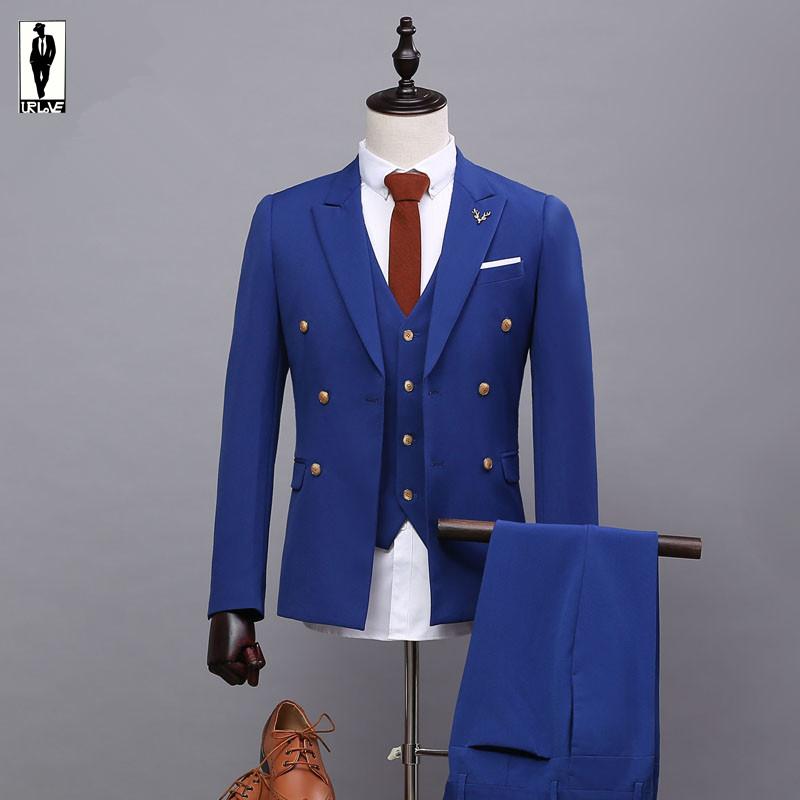 UR 07 Slim Navy Blue Double Breasted Handmade Plus Size Costume Homme Blazer Tuxedo Wedding Suits For Men Custom Made Men Suits