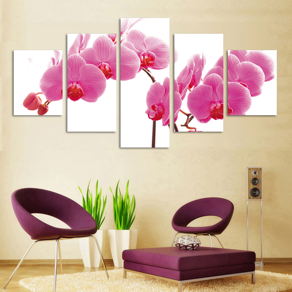 Fashion 5panel/lot Modern canvas painting HD Large image wall painting flower artwork unframe F086 Giveaways wall sticker(China (Mainland))