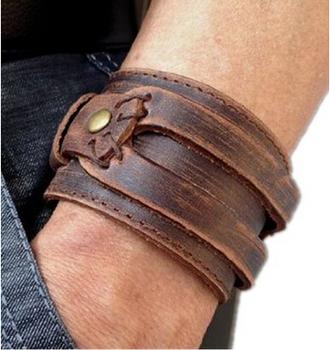 Натуральная кожа браслет мужские rock браслеты браслеты винтажный ювелирные изделия ...