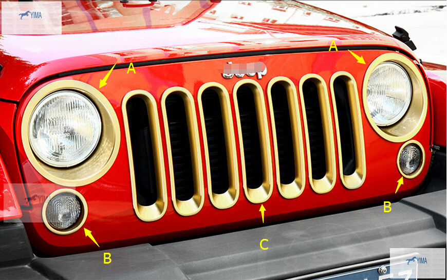 3 model for choice! For Jeep Wrangler 2011-2014 ABS Front Insert Race Grille / Headlight Lamp Ring / Fog Lamp Cover Trim(China (Mainland))