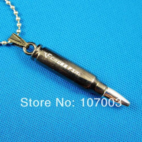 Stainless Steel Cross Fire Pendant Stainless Steel Bullet Man Necklace 2pcs/lot WG