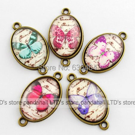 Butterfly Picture Links, with Zinc Alloy Findings and Glass Cabochons, Oval, Mixed Color, 36x21x6mm, Hole: 2mm(China (Mainland))