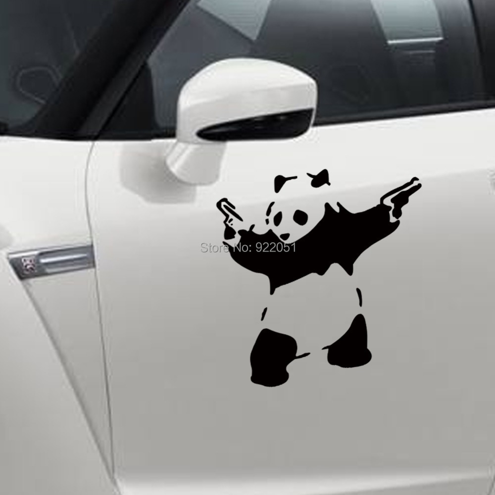 Car sticker design maker - Cool Panda Holding Guns Car Stickers 10 10 Cm Decorative Animal Car Decal Zy407