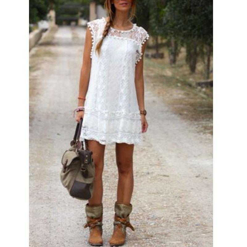 Vestidos 2016 Summer Elegant ZANZEA Women Casual Solid Short Sleeve Slim Lace Mini Dress Tops Ladies Sexy White Dress Plus Size(China (Mainland))