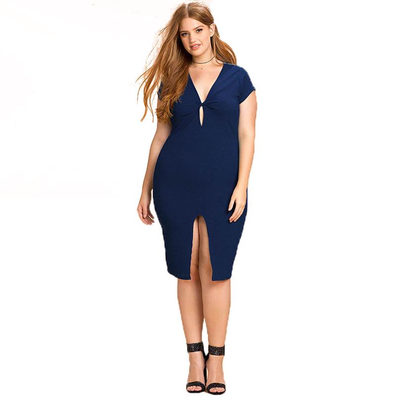 Navy blue deep v dress