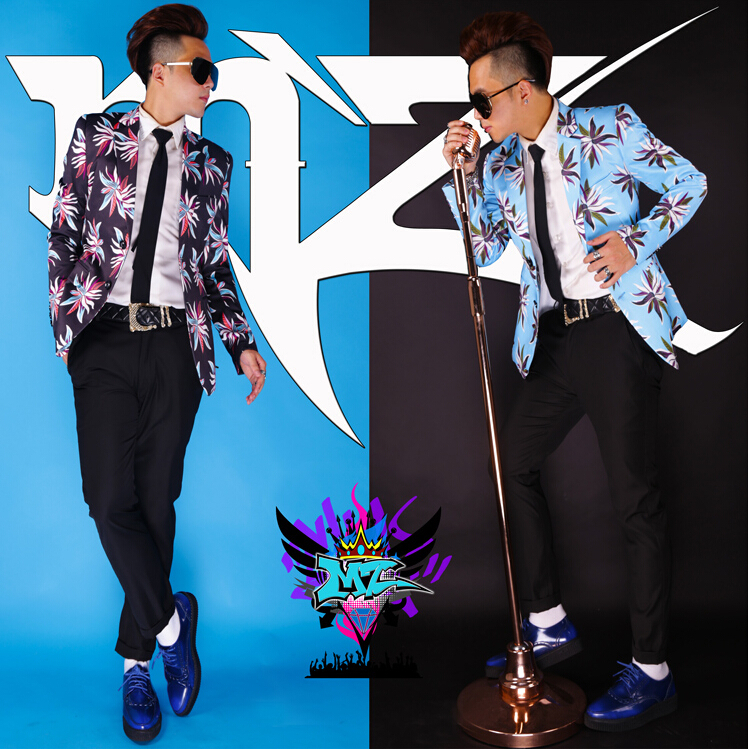 2015 new bigbang DJ male singer loser with style, t.o.p black blue flowers men Nightclub stage suit costumes,S-4XLОдежда и ак�е��уары<br><br><br>Aliexpress