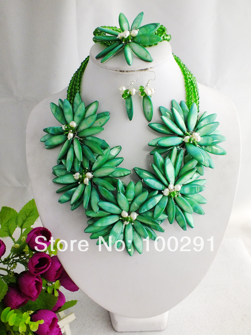 Free Shipping !!! A-947 Fashion Wrap Flower Jewelry Set Neclace For Wedding(China (Mainland))