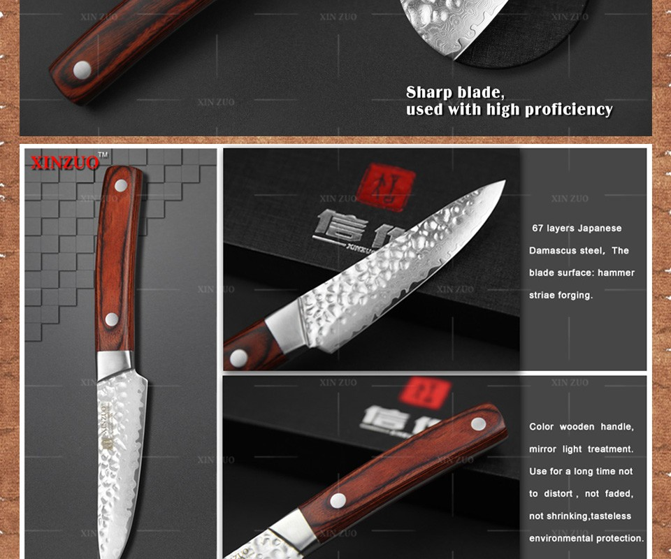 "Buy XINZUO 3.5"" inches fruit knife Damascus kitchen knives surper sharp paring kitchen knife utility knife wood handle FREE SHIPPING cheap"