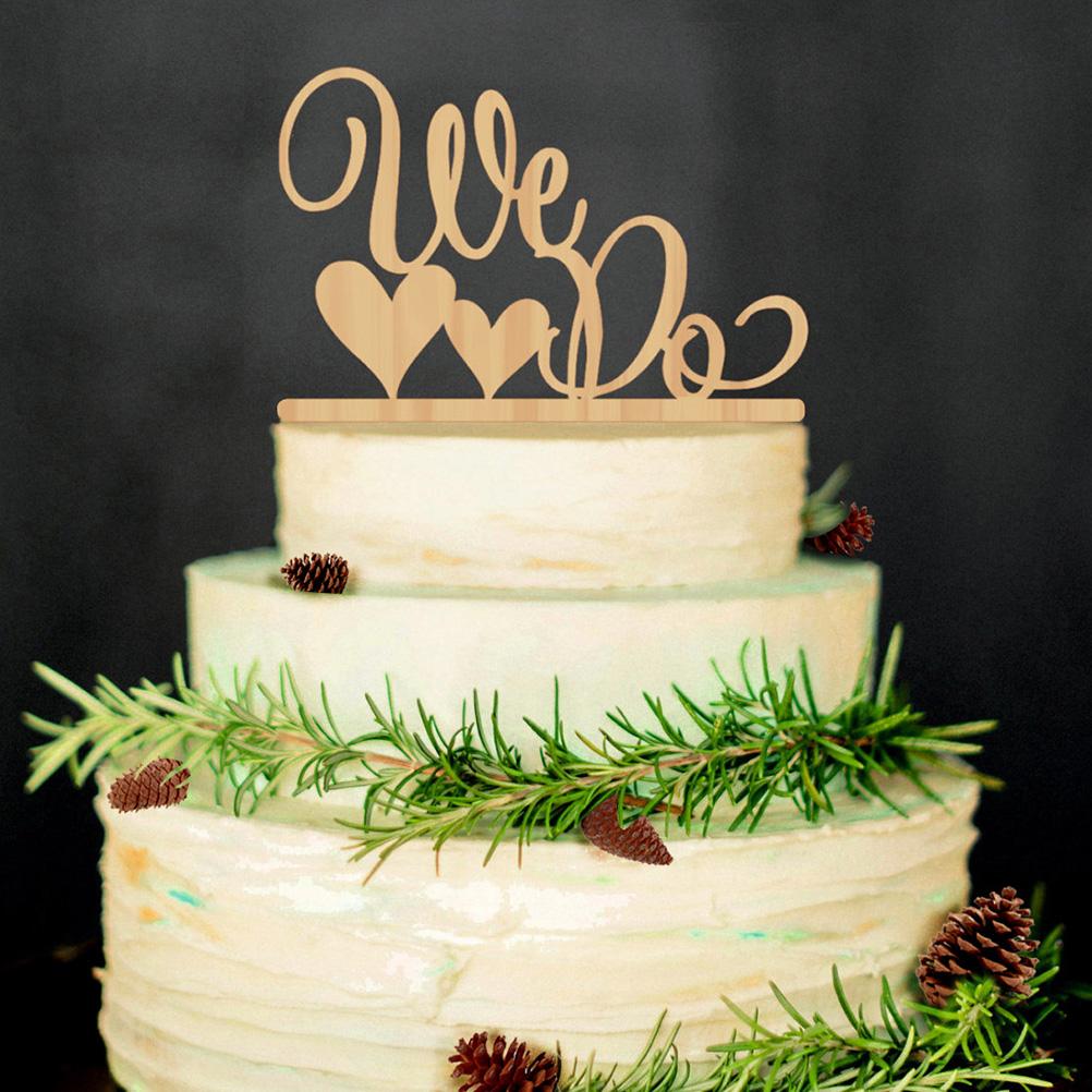 2018 Wholesale Romantic Double Heart Shaped We Do Wooden Wedding