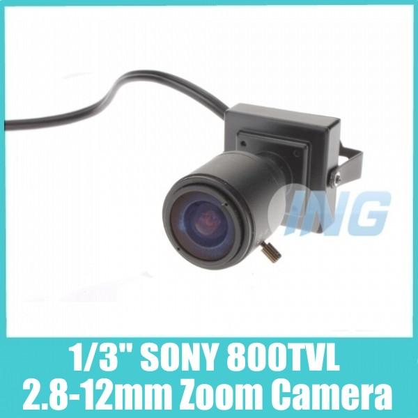 "HOT SALE!! Mini 1/3"" SONY Effio-E 800TVL 2.8-12mm Zoom Camera CCTV Security Camera Indoor Cam (OSD Optional, Free Shipping)(China (Mainland))"