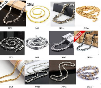 Wholesale - stainless steel   metal chain Men's chain Necklaces 10pcs/lot mix order free shiping