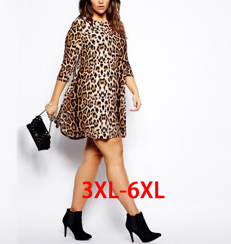 6Xl Plus Size Women Dresses Leopard Vestidos 2015 Spring Summer Ladies Rube Casual Woman Mini Dress Large Big Size Xxxl Clothes(China (Mainland))
