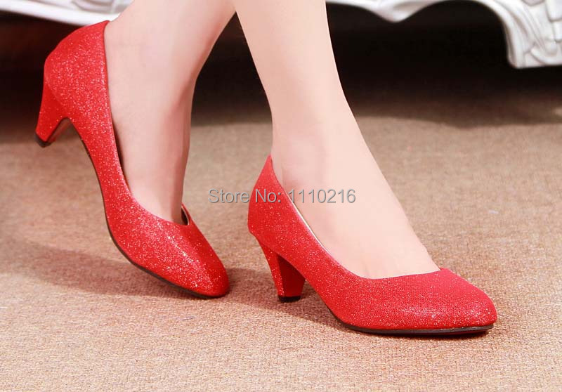 free shipping hot sale 2016 new fashion cheap green thick high heels pumps bridal wedding low heel single shoes