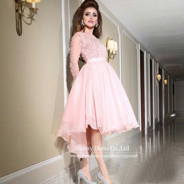 aliexpresscom buy sheer long sleeve light pink prom