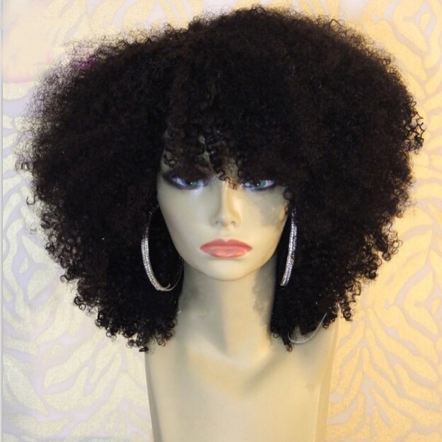 Short-Afro-Curly-Full-Lace-Human-Hair-Wigs-Afro-Kinky ...