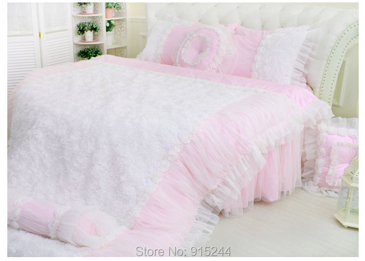Beautiful home wedding lace round bedding set children for Round bed for kids