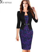 2016 New Womens Elegant Faux Twinset Belted Dots Tartan Floral Lace Patchwork Wear to Work Business Pencil Sheath Bodycon Dress