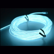 2016 Hot EL Wire 10 Feet White FELEXIBLE FLASH LED NEON LIGHT GLOW EL Wire STRIP TUBE WIRE ROPE + BATTERY CASE +12V controller