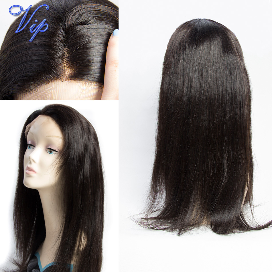 Фотография 130% Density human hair wigs Unprocessed Indian straight virgin hair 1pcs free part straight lace Front wigs for black women