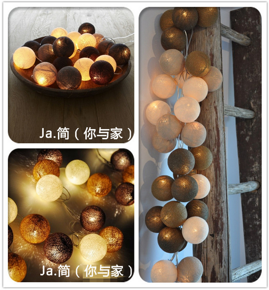 Free shipping!!35 balls/set Burgundy Cotton Balls String Lights Handmade For Decoration/Lighting Holiday Party Wedding Xmas Gift(China (Mainland))