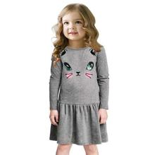 Buy Princess Girls Dress 2017 New Fashion summer Cat Print Children Long Sleeve Cartoon baby girl Cotton Party Dresses kids for $6.77 in AliExpress store
