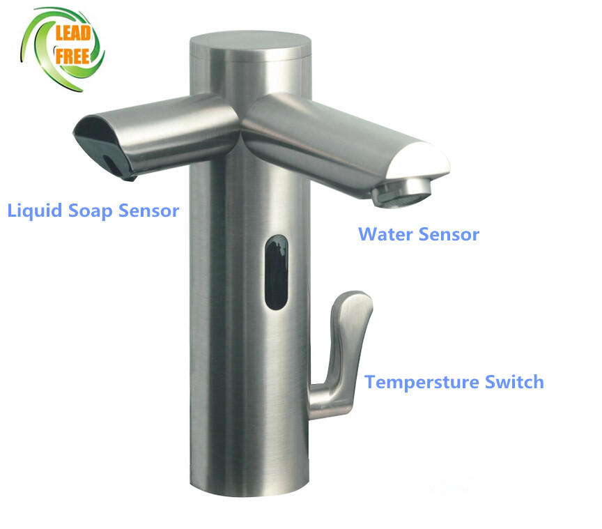 Auto faucet with soap dispenser Sensor faucet basin mixer intelligent digital basin tap sink tap