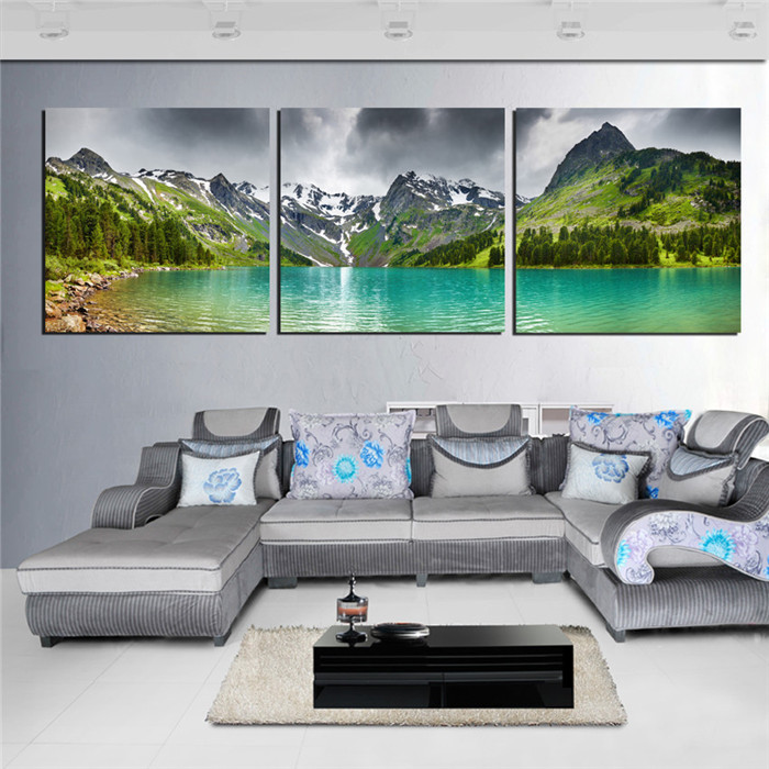 3 Panel Canvas Wall Art Landscape Picture Mountain Lake Canvas Pictures For Wall Living Room Modern Home Decor Printed 2015 Hew(China (Mainland))