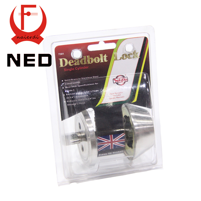 High-Ends Brand NED Single Cylinder Deadbolt Lock Solid Brass SS Lock Highest Security For Home Door Suitable For 35mm to 50mm<br><br>Aliexpress