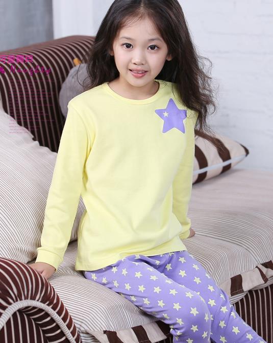 Retail Star Printed Girls' Long Sleeves Pajama Set Spring Fall 2015 New Children's Pyjamas Cotton Kids Girls Sleepwear - Princess J. Girl's Clothing Store store