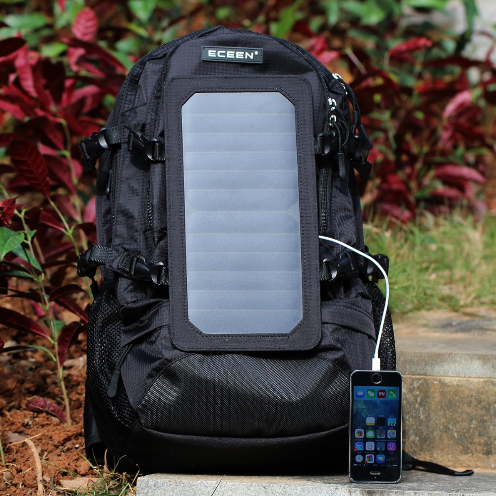 ECEEN Travel Bags 7Watts Solar Backpack Hiking Backpack Camping Bag Nylon Materials Solar Charger for Cell Phone 5V Devices(China (Mainland))