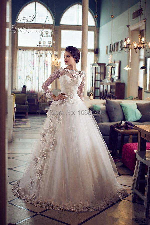 2015 Real Luxury Ball Gown Hand Made Flowers Lace Beautiful Wedding Dresses Full Sleeve Real Elegant Bridal Gowns ST108(China (Mainland))