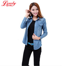 New 2016 Spring Woman Denim Shirt Fashion Style Long Sleeve Casual Shirts For Women 2 Colors Blouses Plus Size Ladies Clothes(China (Mainland))