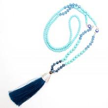 New design turquoise Turkey's blue eyes pendant handmade tassel pendant long necklace boho style knotted necklace women jewelry(China (Mainland))
