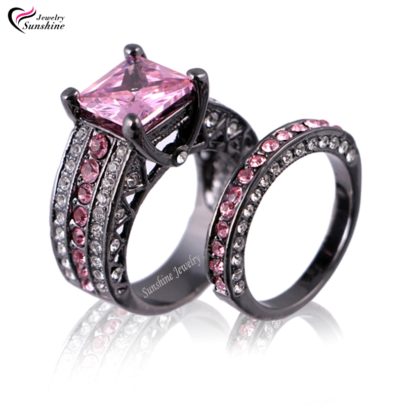 Pink Cubic Zirconia Black Plated Women s Black Gold Wedding Ring Set Enga