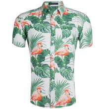 Мужская гавайская рубашка мужская повседневная camisa masculina с принтом пляжные рубашки цветочный короткий рукав брендовая одежда EU US размер(China)