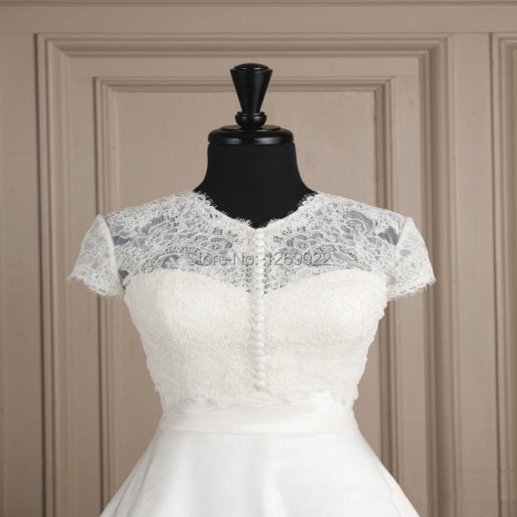 2014 hot sale fashion white lace beaded buttons wedding for Wedding dress lace bolero