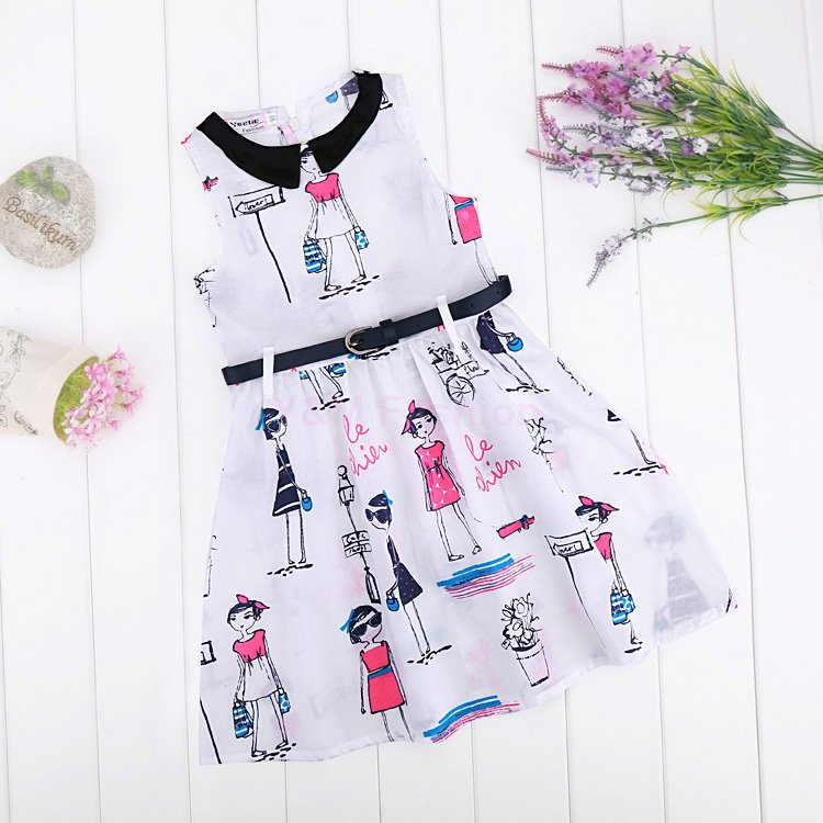 Brand New Summer Dress For Girls Clothes 2015 Fashion Sleeveless Girl Dress Casual Cotton Baby Girl Dress With Belt meninas(China (Mainland))