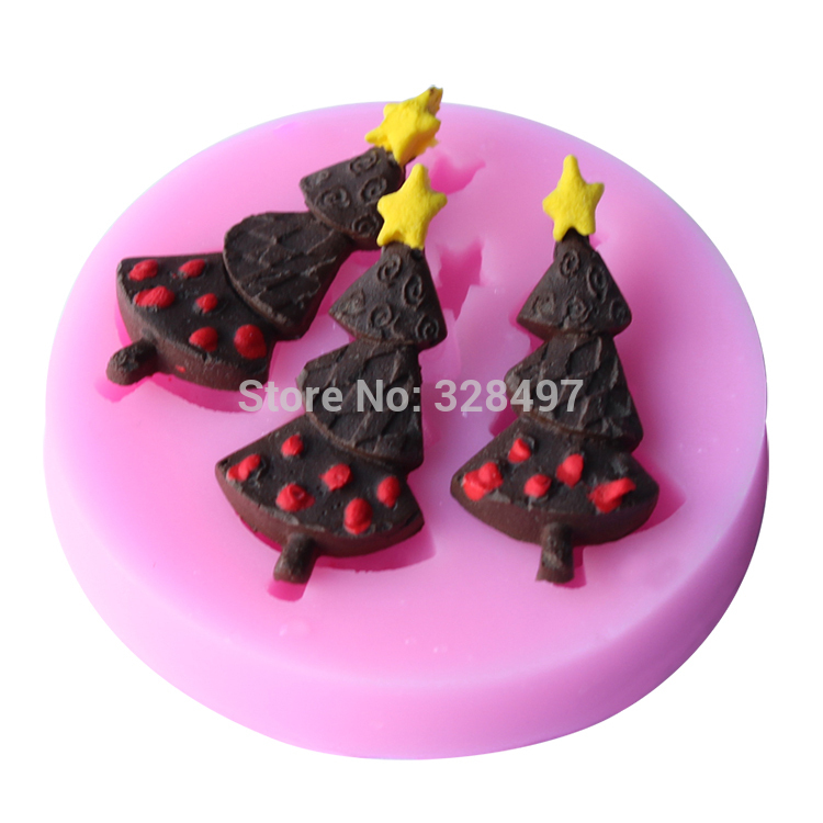 Small Size Christmas tree Shape Silicone molds Handmade Soap Mold, Fondant Cake Decoration Sugar Craft Tools baking tools E032(China (Mainland))