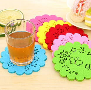 5 pcs/Lot Colored Lace Cup Mat PVC Round Coaster Zakka Tea Placement accessories for table Kitchen Ikea Novelty placemat(China (Mainland))
