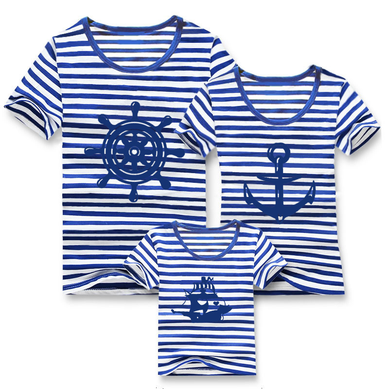 Family fashion summer 2015 short-sleeve navy striped T-shirt matching family clothing set mother daughter father son - Spring Children Clothes and Shoes store
