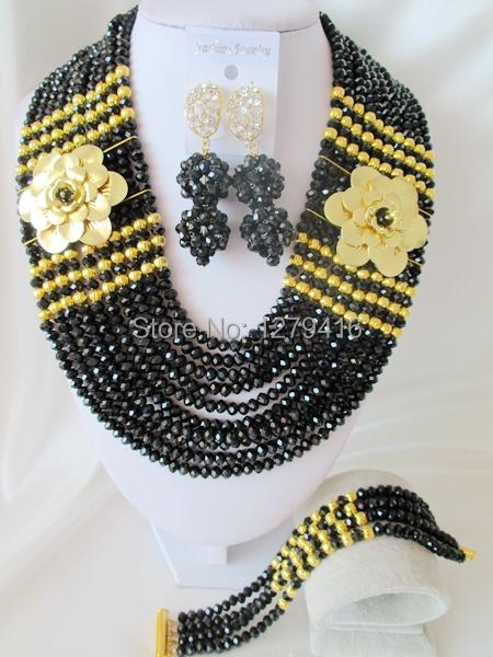 Fashionable  Black  Crystal Nigerian Wedding African Beads Jewelry Set AB044<br><br>Aliexpress