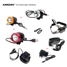Anghu A10 Headlamps Bicycle light 3 Modes White Light CREE XM-L2 T6 USB/DC with 2 Orings & Headband & Charger Plug & Battery Box(China (Mainland))