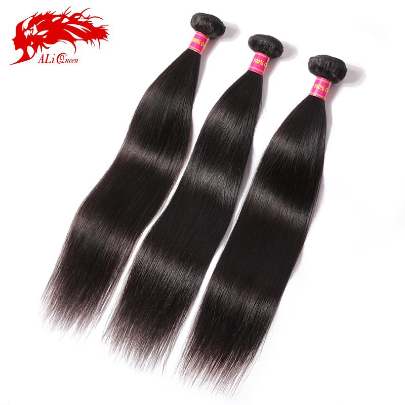 6A brazilian virgin hair straight 3 bundles human hair weave, Ali Queen Hair products virgin brazilian straight hair bundles(China (Mainland))