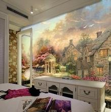 large European wallpaper Nordic painting style town scenery village tree landscape mural high quality mural wall paper