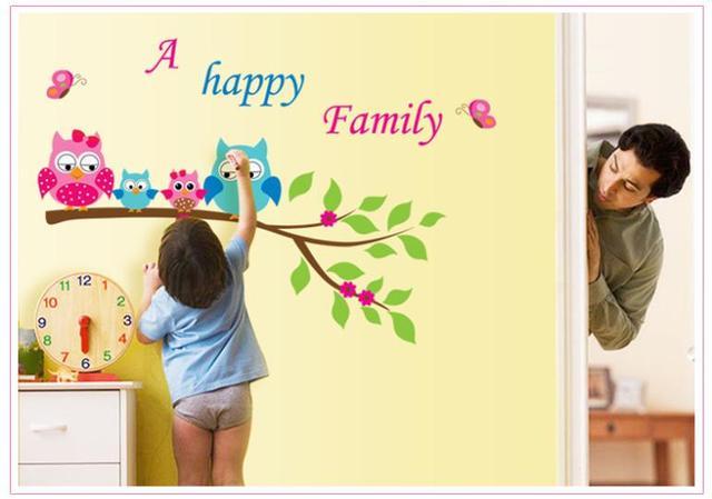 Прекрасные счастливая семья сова на вал стена наклейки для детей комната животное стена наклейки для дома декор год обои