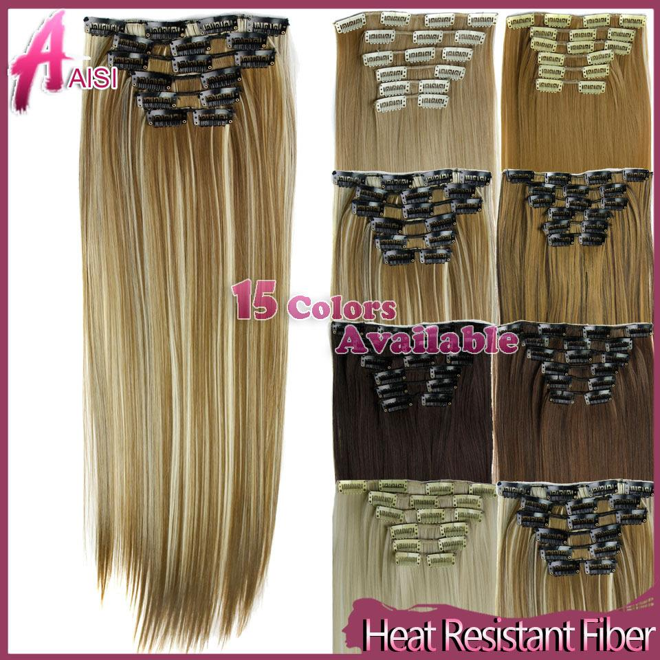 Hairpiece 23inch 140g Straight 16 Clips in False Hair Styling Synthetic Clip In Hair Extensions 6pcs/set Heat Resistant Hair Pad(China (Mainland))