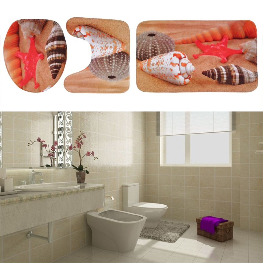Hot soft flannel 3 piece bathroom set bath contour rug for Three piece bathroom