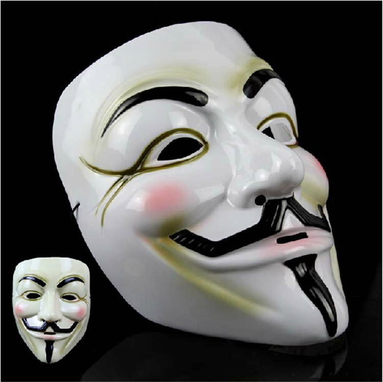 New V For Vendetta mask Anonymous Movie Guy Fawkes Vendetta Mask Halloween for men woman Cosplay White Yellow(China (Mainland))